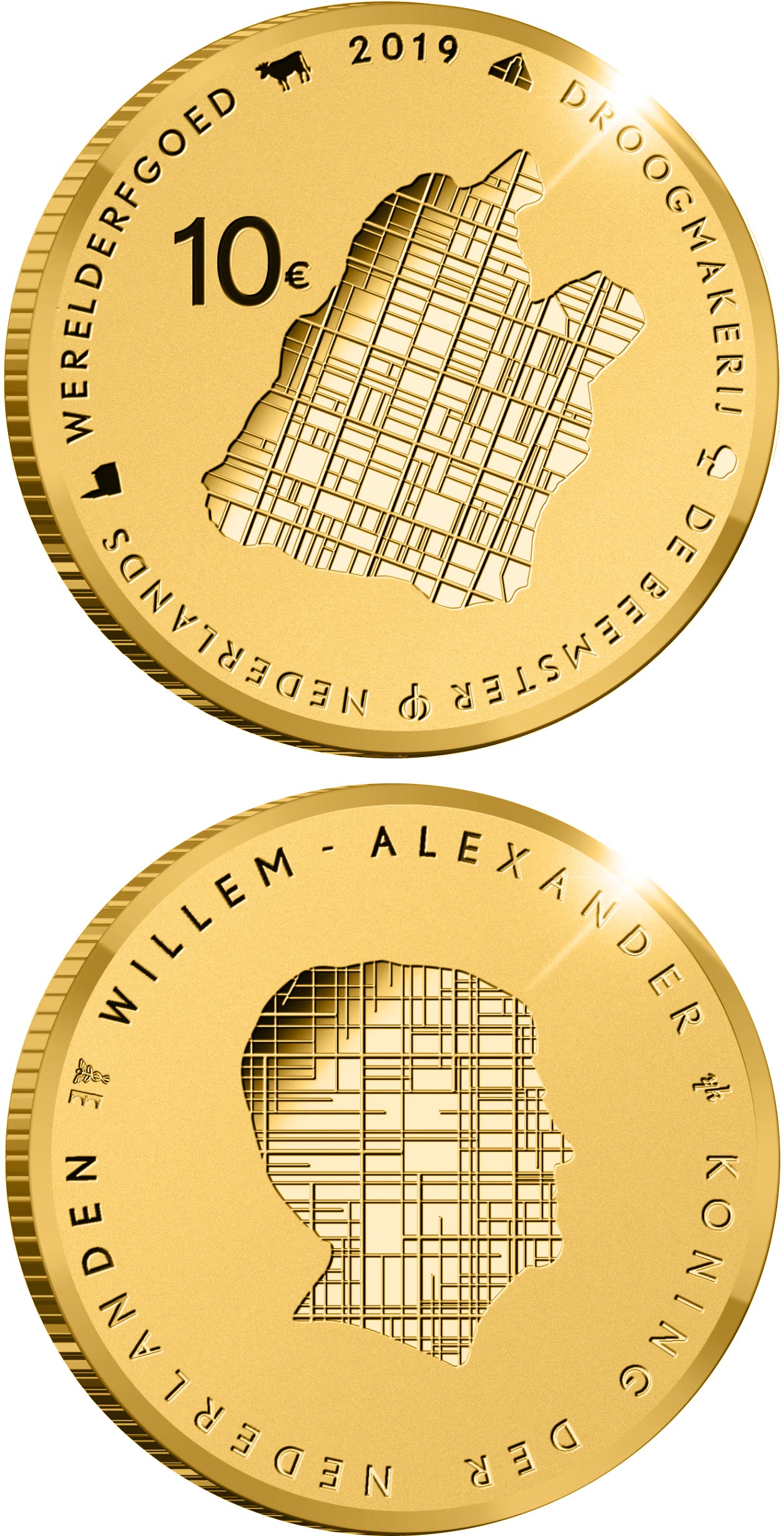 Image of 10 euro coin - Beemster | Netherlands 2019.  The Gold coin is of Proof quality.