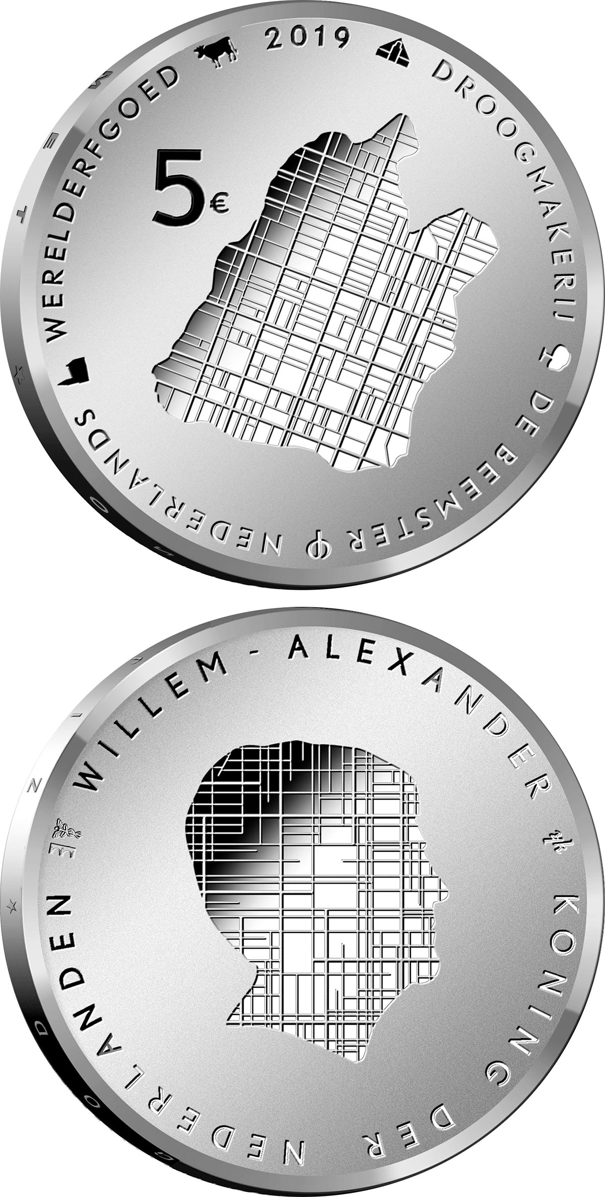 Image of 5 euro coin - Beemster | Netherlands 2019.  The Silver coin is of Proof, UNC quality.