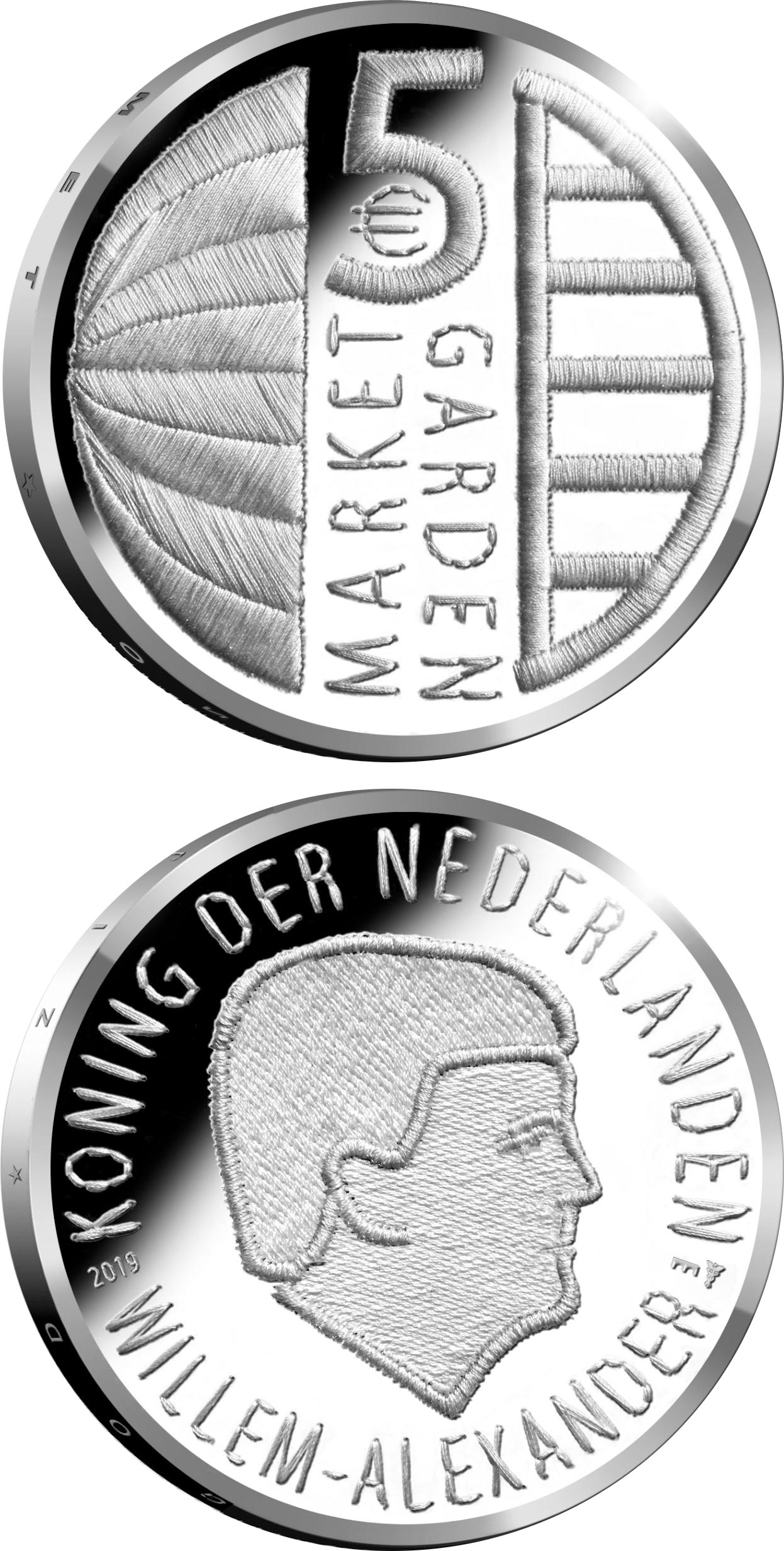 Image of 5 euro coin - 75th anniversary of Operation Market Garden | Netherlands 2019.  The Silver coin is of Proof, UNC quality.