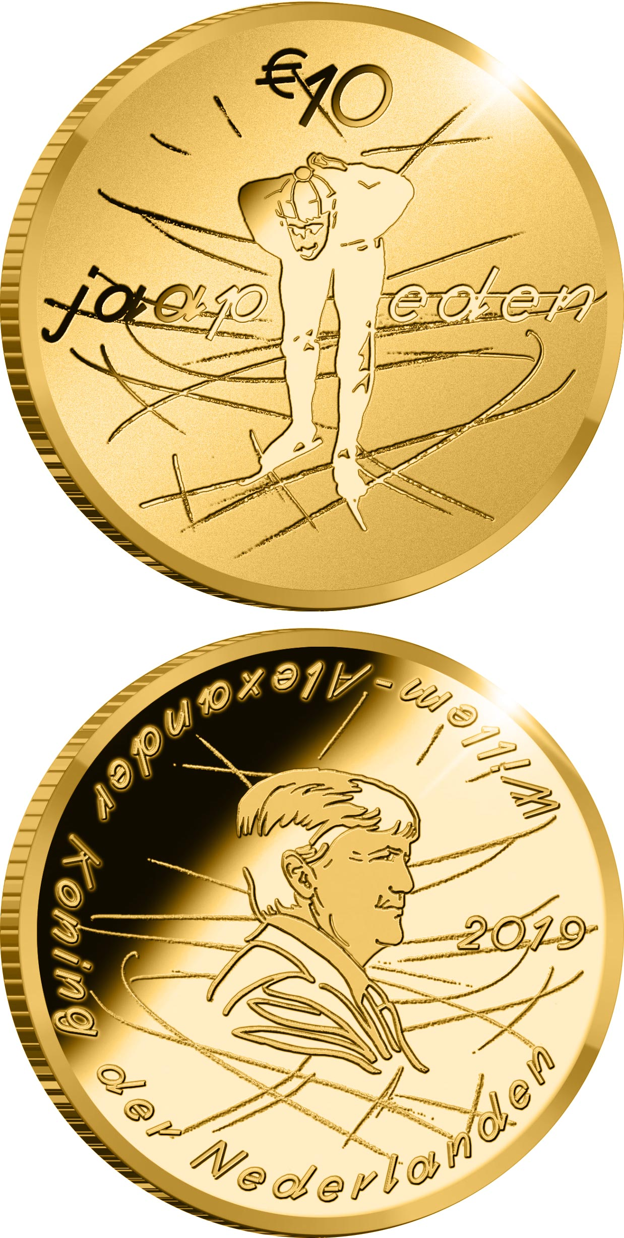 Image of 10 euro coin - Jaap Eden | Netherlands 2019.  The Gold coin is of Proof quality.