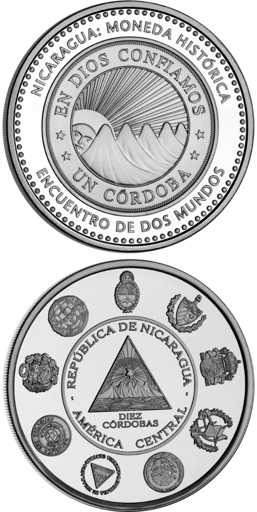 Image of 10 córdobas coin – Historic Ibero-American Coins | Nicaragua 2010.  The Silver coin is of Proof quality.