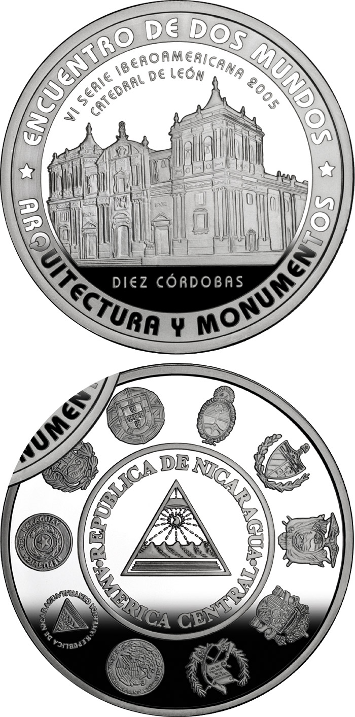 Image of 10 córdobas coin - Architecture and Monuments – Basilica Cathedral of the Assumption | Nicaragua 2005.  The Silver coin is of Proof quality.