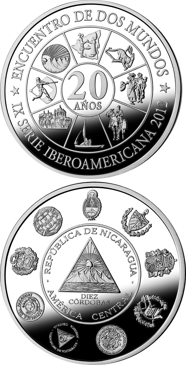 Image of 10 córdobas coin - Cultural Roots | Nicaragua 2015.  The Silver coin is of Proof quality.