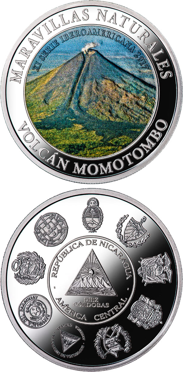 Image of 10 córdobas coin - Wonders of nature - Momotombo volcano | Nicaragua 2017.  The Silver coin is of Proof quality.