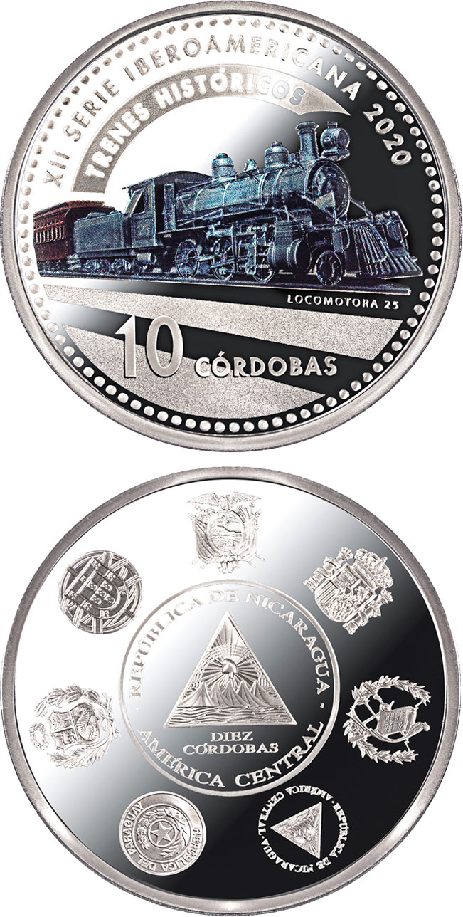 Image of 10 córdobas coin - Historic Railways | Nicaragua 2020.  The Silver coin is of Proof quality.