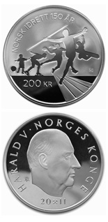 200 krone coin 150th anniversary of Norwegian Olympic and Paralympic Committee and Confederation of Sports  | Norway 2011
