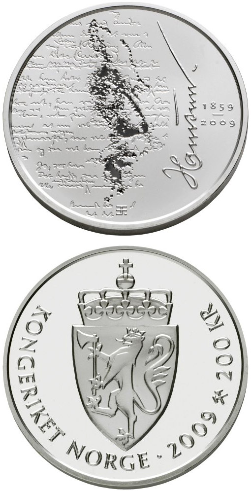 Image of 150th anniversary of Knut Hamsun's birth  – 200 krone coin Norway 2009.  The Silver coin is of Proof quality.