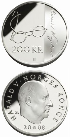 Image of 200 krone coin - 200th anniversary of Henrik Wergeland's birth  | Norway 2008.  The Silver coin is of Proof quality.