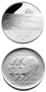 Image of 100 krone coin - 100th anniversary of the Dissolution of the Union between Norway and Sweden in 2005  | Norway 2003.  The Silver coin is of Proof quality.