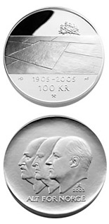 100 krone coin 100th anniversary of the Dissolution of the Union between Norway and Sweden in 2005  | Norway 2003