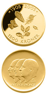 Image of 1500 krone coin - 100th anniversary of the Dissolution of the Union between Norway and Sweden in 2005  | Norway 2003.  The Gold coin is of Proof quality.