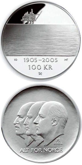 Image of 100 krone coin - 100th anniversary of the Dissolution of the Union between Norway and Sweden in 2005  | Norway 2004.  The Silver coin is of Proof quality.