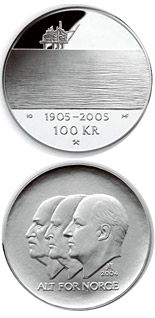 100 krone coin 100th anniversary of the Dissolution of the Union between Norway and Sweden in 2005  | Norway 2004