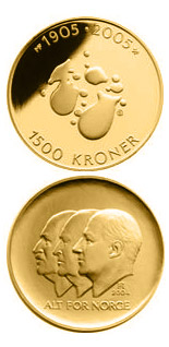 1500 krone coin 100th anniversary of the Dissolution of the Union between Norway and Sweden in 2005  | Norway 2004