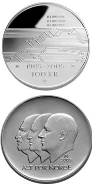 Image of 100 krone coin – 100th anniversary of the Dissolution of the Union between Norway and Sweden in 2005  | Norway 2005.  The Silver coin is of Proof quality.