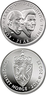 200 krone The 75th birthdays of the King and Queen - 2012 - Series: Silver coins - Norway