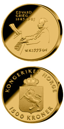 1500 krone 150th Anniversary of the Birth of  the Edvard Grieg  - 1993 - Series: Gold coins - Norway
