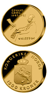 1500 krone coin 150th Anniversary of the Birth of  the Edvard Grieg  | Norway 1993