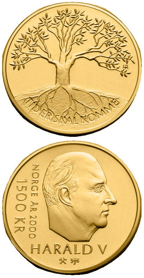 Image of 1500 krone coin - Millennium | Norway 2000.  The Gold coin is of Proof quality.
