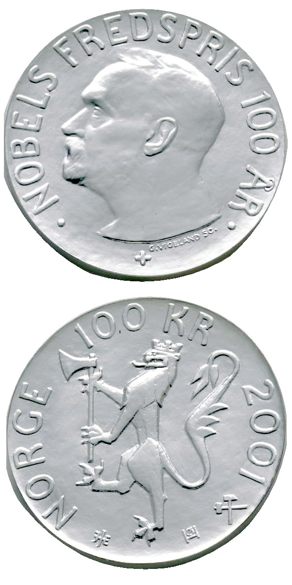Image of 100 krone coin – 100th Anniversary of the Nobel Peace Prize | Norway 2001.  The Silver coin is of Proof quality.