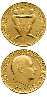 1500 krone 100th Anniversary of the Nobel Peace Prize - 2001 - Series: Gold coins - Norway