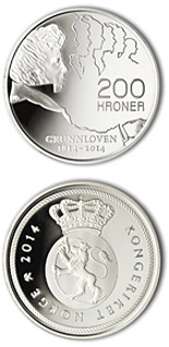200 krone coin Bicentenary of the Norwegian Constitution 2014 | Norway 2014