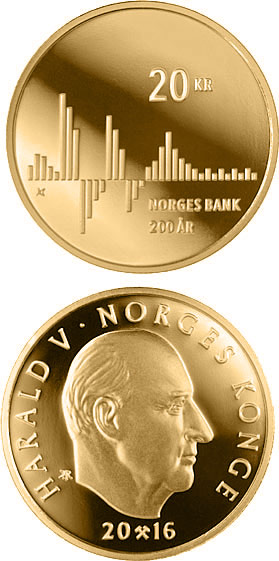 Image of 20 krone coin - Norges Bank bicentenary | Norway 2016.  The Nordic gold (CuZnAl) coin is of BU, UNC quality.