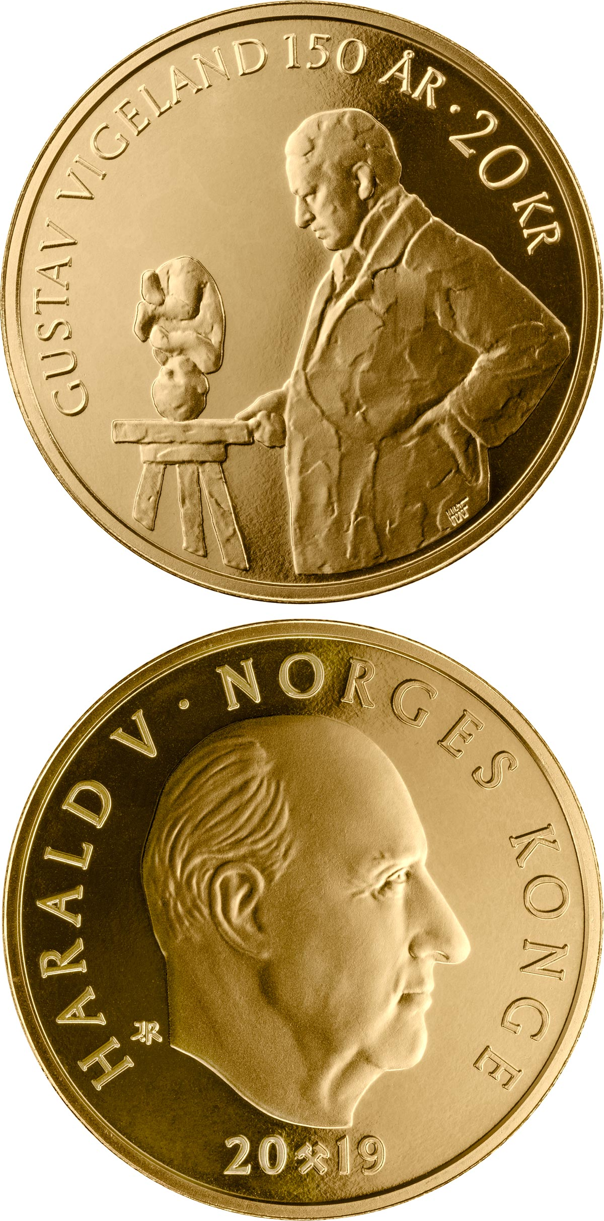 Image of 20 krone coin - Gustav Vigeland | Norway 2019.  The Nordic gold (CuZnAl) coin is of BU, UNC quality.