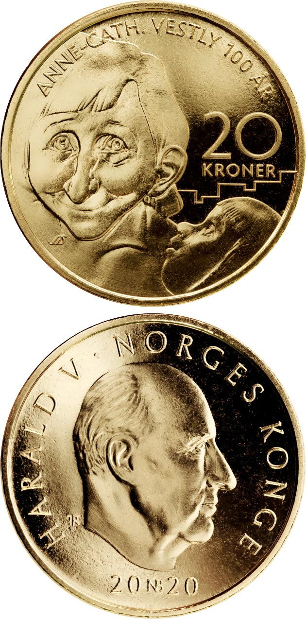 Image of 20 krone coin - Anne Cath Vestly | Norway 2020.  The Nordic gold (CuZnAl) coin is of BU, UNC quality.