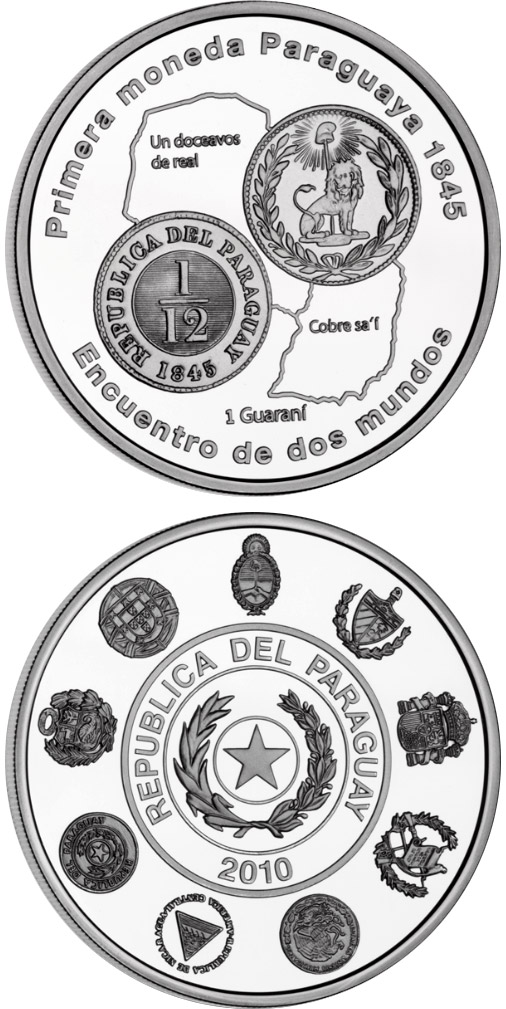 Image of 1 guaraní coin - Historic Ibero-American Coins | Paraguay 2010.  The Silver coin is of Proof quality.