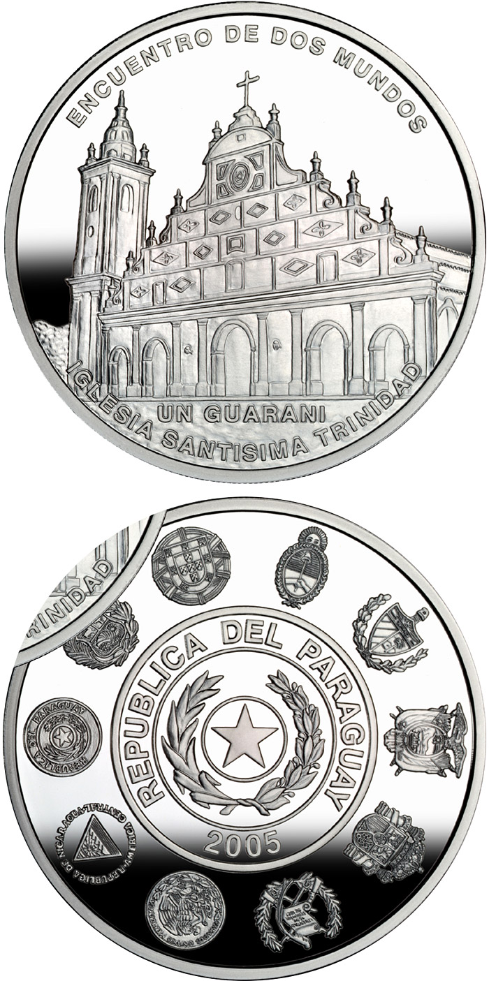 Image of 1 guaraní coin – Architecture and Monuments – Temple of the Holy Trinity | Paraguay 2005.  The Silver coin is of Proof quality.