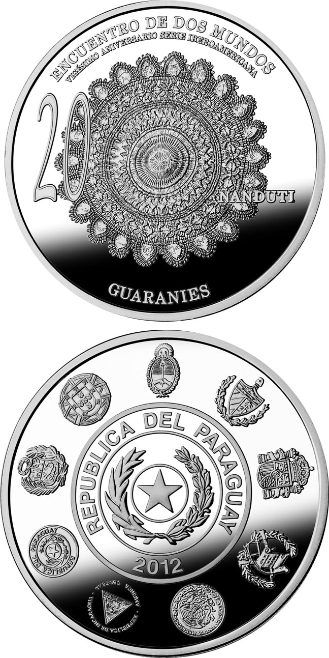 Image of 1 guaraní coin - 20th Anniversary of the Ibero-American Series | Paraguay 2012.  The Silver coin is of Proof quality.