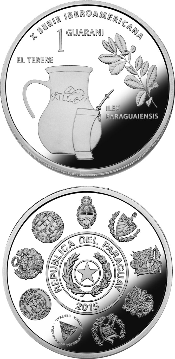 Image of 1 guaraní coin - Cultural Roots | Paraguay 2015.  The Silver coin is of Proof quality.