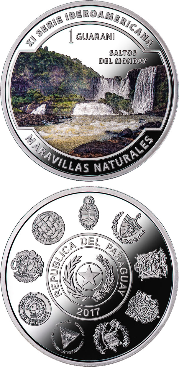 Image of Wonders of nature - Monday River Waterfalls – 1 guaraní coin Paraguay 2017.  The Silver coin is of Proof quality.