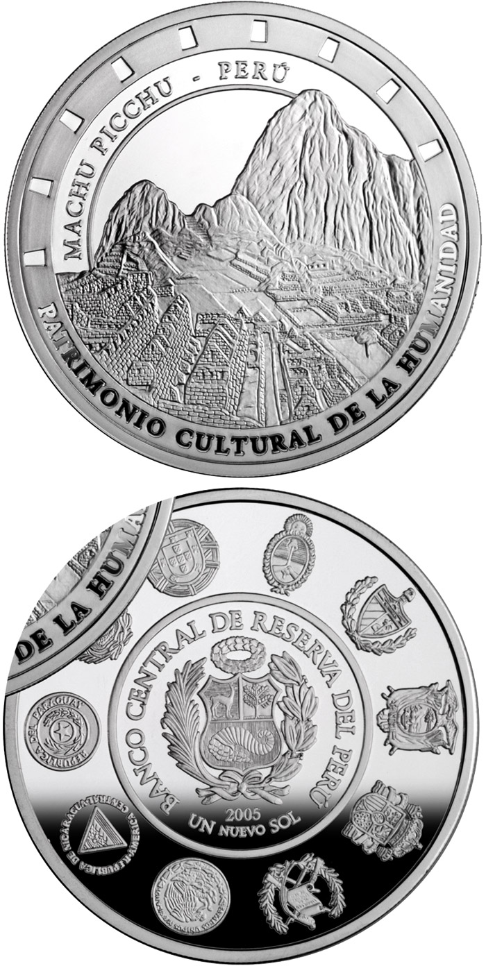 Image of 1 Nuevo Sol coin - Architecture and Monuments – Machu Picchu | Peru 2005.  The Silver coin is of Proof quality.