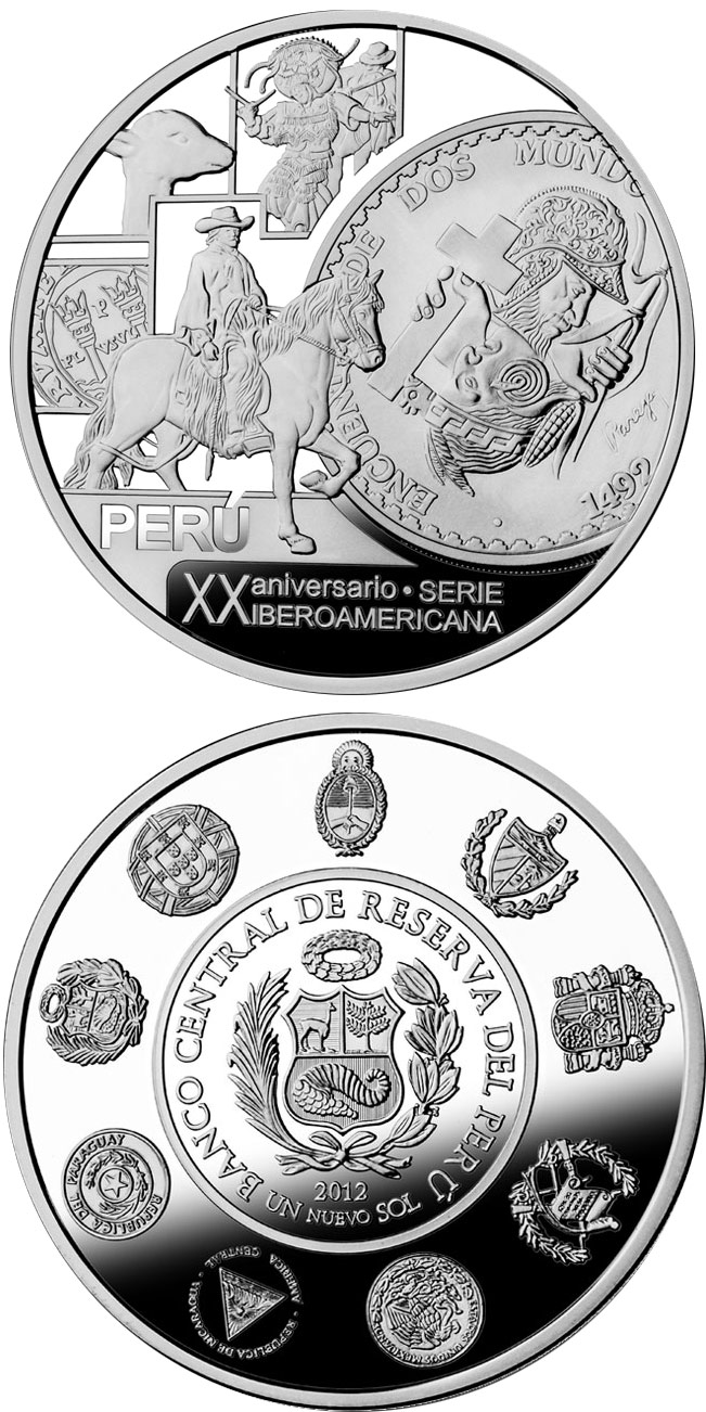 Image of 1 Nuevo Sol coin - 20th Anniversary of the Ibero-American Series | Peru 2012.  The Silver coin is of Proof quality.