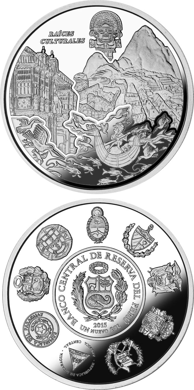 Image of 1 Nuevo Sol coin - Cultural Roots - Machu Picchu | Peru 2015.  The Silver coin is of Proof quality.