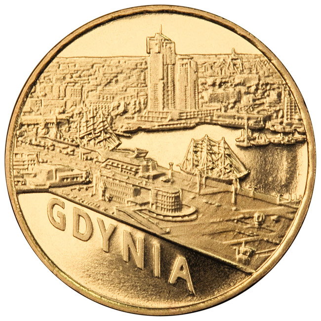 Image of 2 zloty coin - Gdynia | Poland 2011.  The Nordic gold (CuZnAl) coin is of UNC quality.