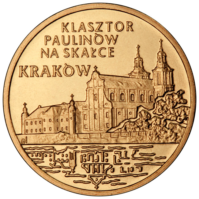 Image of 2 zloty coin - Pauline Monastery on Skałka in Kraków | Poland 2011.  The Nordic gold (CuZnAl) coin is of UNC quality.