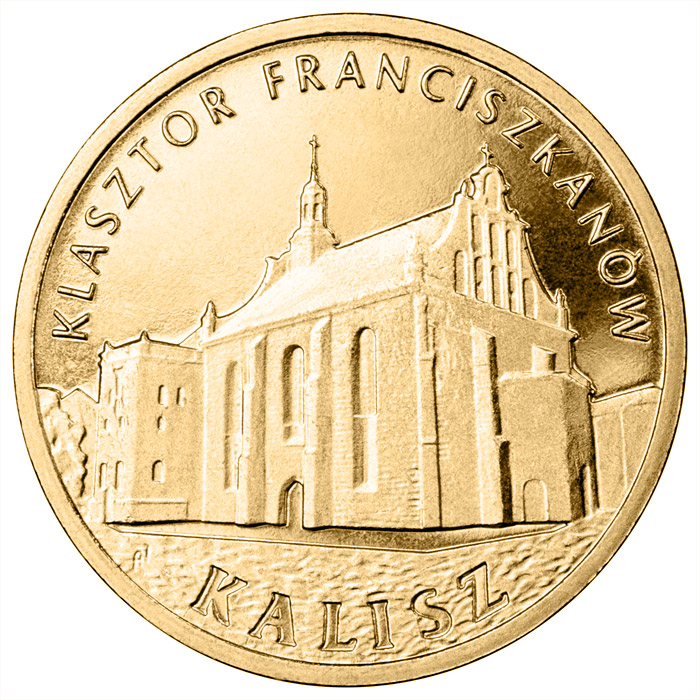 Image of 2 zloty coin – Franciscan Monastery in Kalisz | Poland 2011.  The Nordic gold (CuZnAl) coin is of UNC quality.