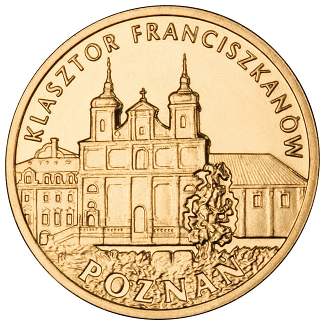 Image of 2 zloty coin – Franciscan Monastery in Poznań | Poland 2011.  The Nordic gold (CuZnAl) coin is of UNC quality.