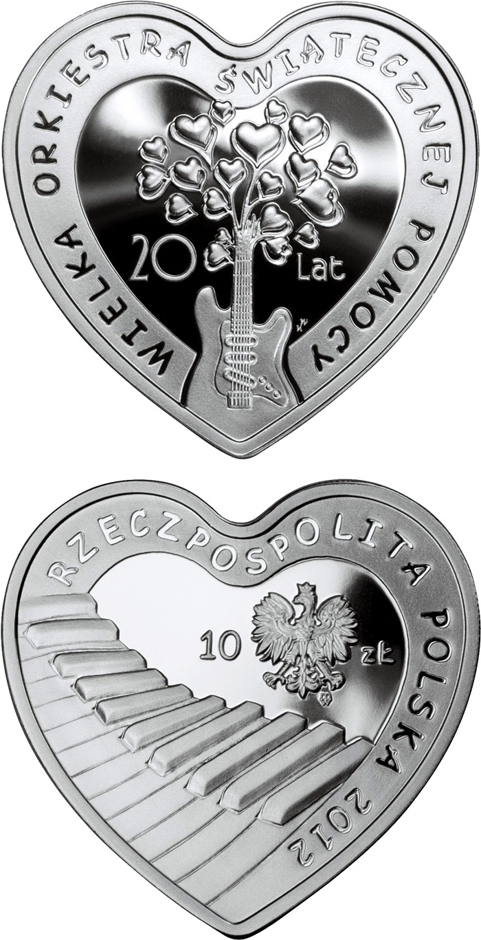 Image of 10 zloty coin - 20 Years of The Great Orchestra of Christmas Charity  | Poland 2012.  The Silver coin is of Proof quality.