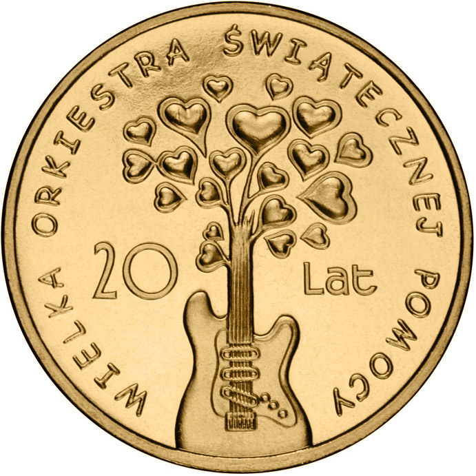 Image of 2 zloty coin - 20 Years of The Great Orchestra of Christmas Charity  | Poland 2012.  The Nordic gold (CuZnAl) coin is of UNC quality.