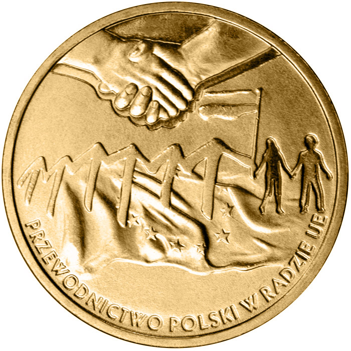 Image of 2 zloty coin - Poland's Presidency of the Council of the European Union  | Poland 2011.  The Nordic gold (CuZnAl) coin is of UNC quality.