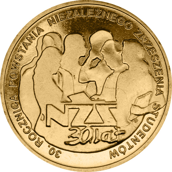 Image of 2 zloty coin - 30th Anniversary of the Establishment of the Independent Students' Union  | Poland 2011.  The Nordic gold (CuZnAl) coin is of UNC quality.