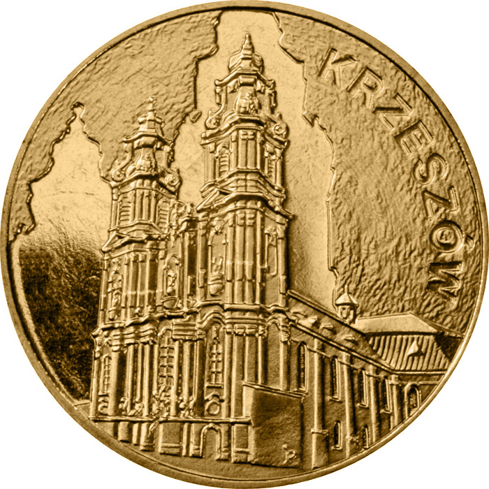 Image of 2 zloty coin – Krzeszów  | Poland 2010.  The Nordic gold (CuZnAl) coin is of UNC quality.