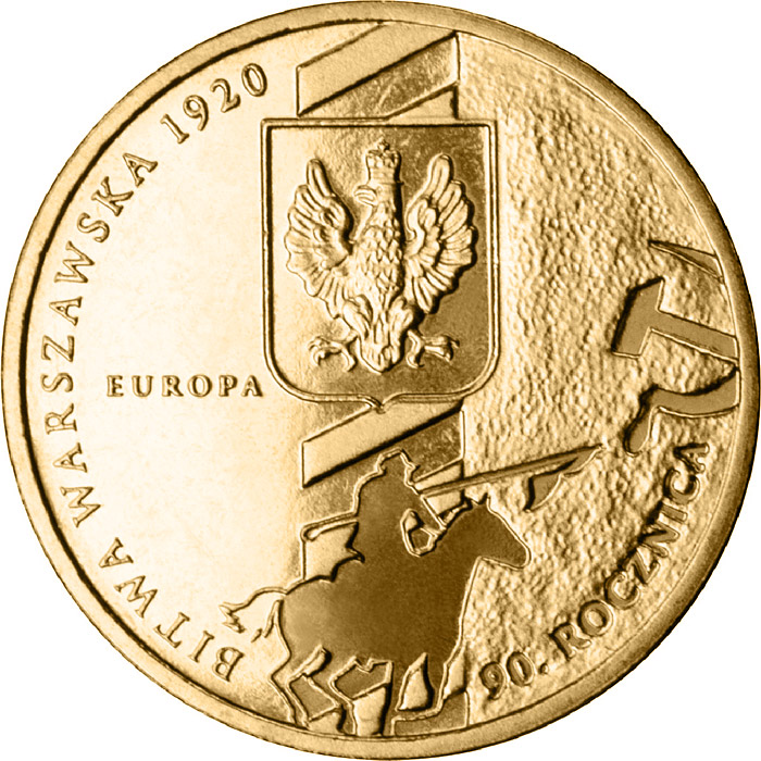 Image of 2 zloty coin - 90th Anniversary of the Battle of Warsaw  | Poland 2010.  The Nordic gold (CuZnAl) coin is of UNC quality.