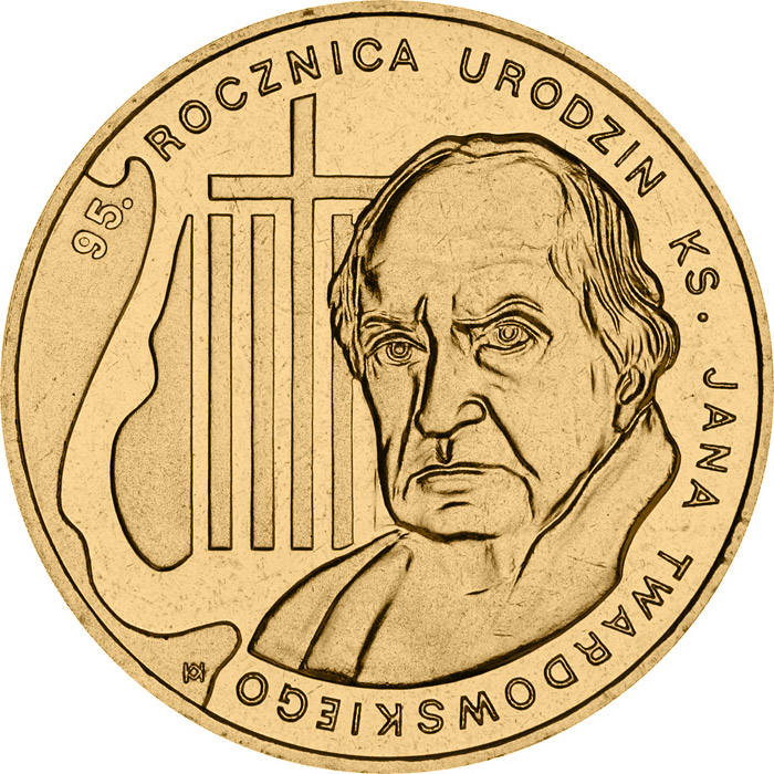 Image of 2 zloty coin - 95th Anniversary of the Birth of rev. Jan Twardowski  | Poland 2010.  The Nordic gold (CuZnAl) coin is of UNC quality.