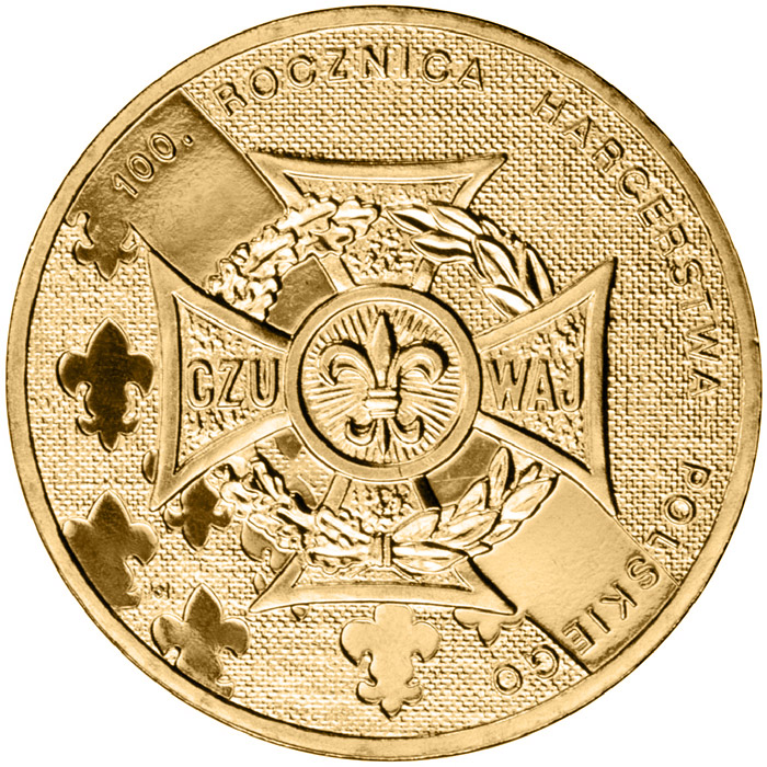 Image of 2 zloty coin - 100th Anniversary of Polish Scouting  | Poland 2010.  The Nordic gold (CuZnAl) coin is of UNC quality.