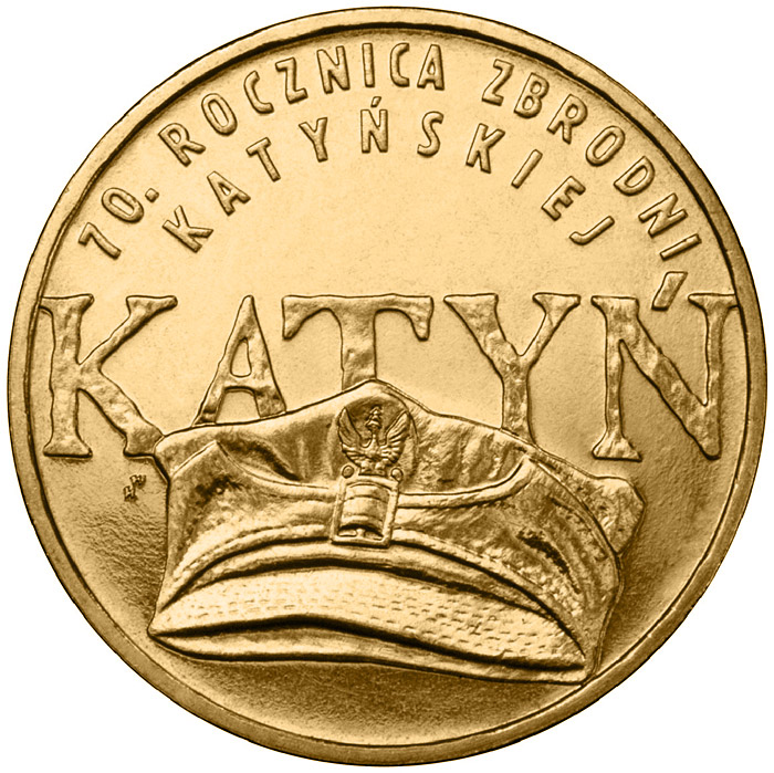 Image of 2 zloty coin - 70th Anniversary of the Katyń Crime  | Poland 2010.  The Nordic gold (CuZnAl) coin is of UNC quality.